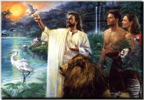 Jesus , os amimais , Adao e Eva