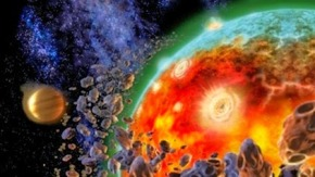 Digitally generated image showing volcanic eruptions during formation of Earth