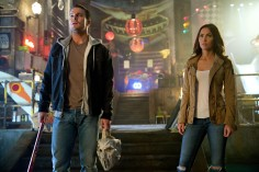 Left to right: Stephen Amell as Casey Jones and Megan Fox as April O'Neil in Teenage Mutant Ninja Turtles: Out of the Shadows from Paramount Pictures, Nickelodeon Movies and Platinum Dunes