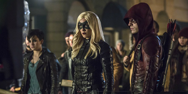 "Arrow -- ""Uprising"" -- Image AR312B_0194b -- Pictured (L-R): Bex Taylor-Klaus as Sin, Katie Cassidy as Black Canary and Colton Haynes as Arsenal -- Photo: Katie Yu/The CW -- © 2015 The CW Network, LLC. All Rights Reserved."