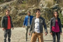 "From L to R: Dacre Montgomery as ""Jason"", RJ Cyler as ""Billy"", Ludi Lin as ""Zach"" and Naomi Scott as ""Kimberly"" in SABAN'S POWER RANGERS. Photo by Kimberley French."