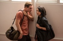 "Dacre Montgomery as ""Jason"" and Naomi Scott as ""Kimberly"" in SABAN'S POWER RANGERS. Photo by Kimberly French."