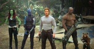 Guardians Of The Galaxy Vol. 2 L to R: Gamora (Zoe Saldana), Nebula (Karen Gillan), Star-Lord/Peter Quill (Chris Pratt), Drax (Dave Bautista) and Rocket (voiced by Bradley Cooper) Ph: Film Frame ©Marvel Studios 2017