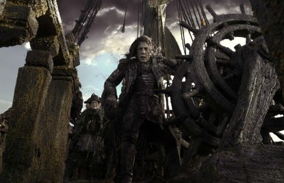 """""""PIRATES OF THE CARIBBEAN: DEAD MEN TELL NO TALES"""" The villainous Captain Salazar (Javier Bardem) pursues Jack Sparrow (Johnny Depp) as he searches for the trident used by Poseidon. Ph: Film Frame ©Disney Enterprises, Inc. All Rights Reserved."""