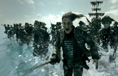 """""""PIRATES OF THE CARIBBEAN: DEAD MEN TELL NO TALES""""..The villainous Captain Salazar (Javier Bardem) pursues Jack Sparrow (Johnny Depp) as he searches for the trident used by Poseidon..Pictured: Javier Bardem (Captain Salazar)..Film Frame..© Disney Enterprises, Inc. All Rights Reserved."""